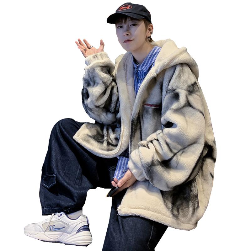 冬季加厚棉衣男韩版宽松潮流羊羔毛加绒连帽棉服港风休闲新款外套