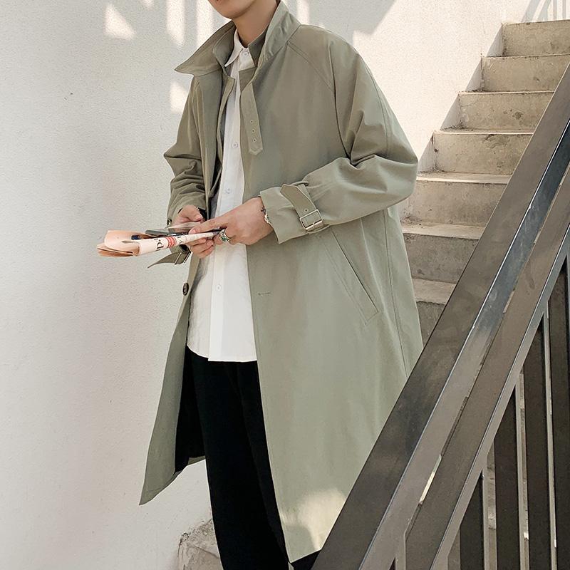 中长款风衣男潮韩版帅气 风百搭大衣秋季新款双层领宽松男士外套  bf