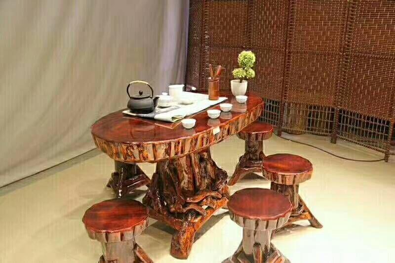根雕根艺茶台香樟木面板茶几天然实木树根经济型包邮餐桌