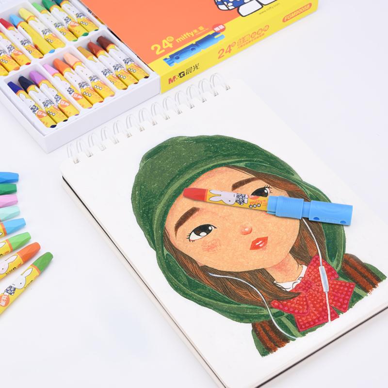 晨光米菲丝滑油画棒 12色24色36色幼儿园儿童可水洗安全小学生六角形软蜡笔幼儿画笔儿童绘画笔套装送卷笔刀