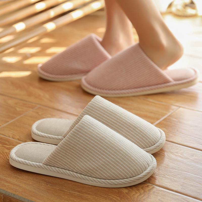 日式家居棉拖鞋女室内秋冬季情侣居家用防滑地板软底拖鞋男士冬天