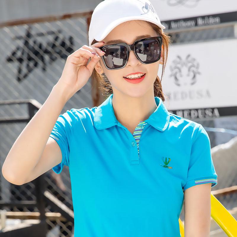 夏装短袖女2019新款纯棉运动有领t恤大码上衣宽松翻领polo衫半袖
