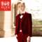 ELPA男童小西装套装儿童西服花童礼服加厚丝绒中大童演出服红色