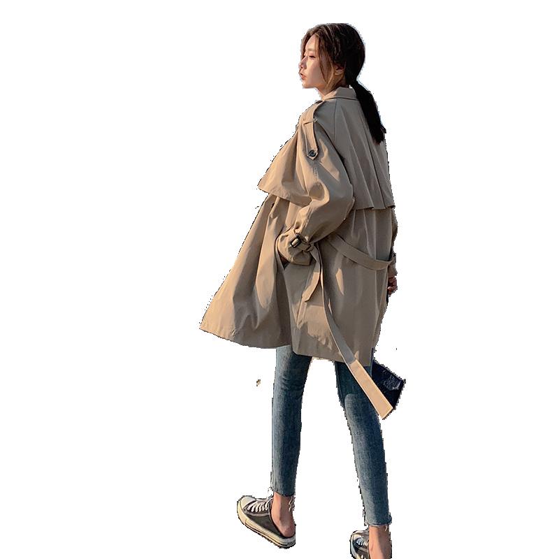 风衣女 秋季新款小个子韩版宽松学生短卡其色中长款外套女春秋  2019