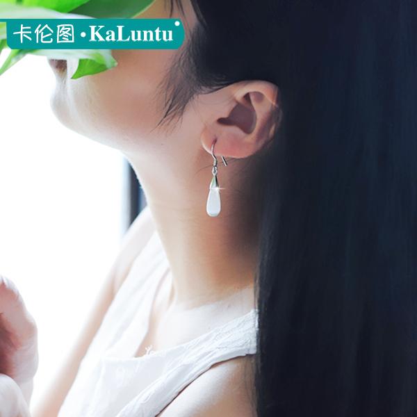 卡伦图925纯银耳环女 长款猫眼石水滴耳坠韩国气质复古民族风耳饰