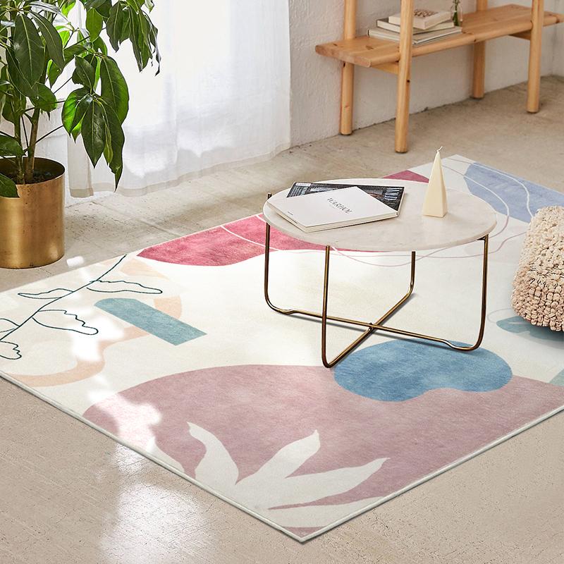 优立客厅卧室地毯北欧几何ins少女心超柔网红拍照可水洗茶几地垫 - 图1