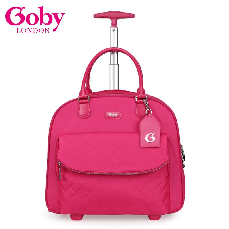 goby果比新款16寸短程登機手提拉桿箱翻蓋金屬拉鍊女性短程旅行箱
