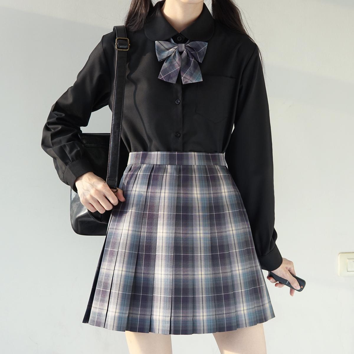 女 基础款黑白尖领圆领衬衫 制服日系长袖角襟丸襟衬衫 jk 刺篇