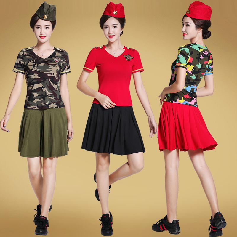 艳王2019广场舞服装新款套装夏季短袖水兵舞服装迷彩舞蹈服夏装女