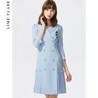 莱茵春冬装2020新款法式v领压褶小黑裙西装裙修身显瘦气质连衣裙 (¥1424(券后))