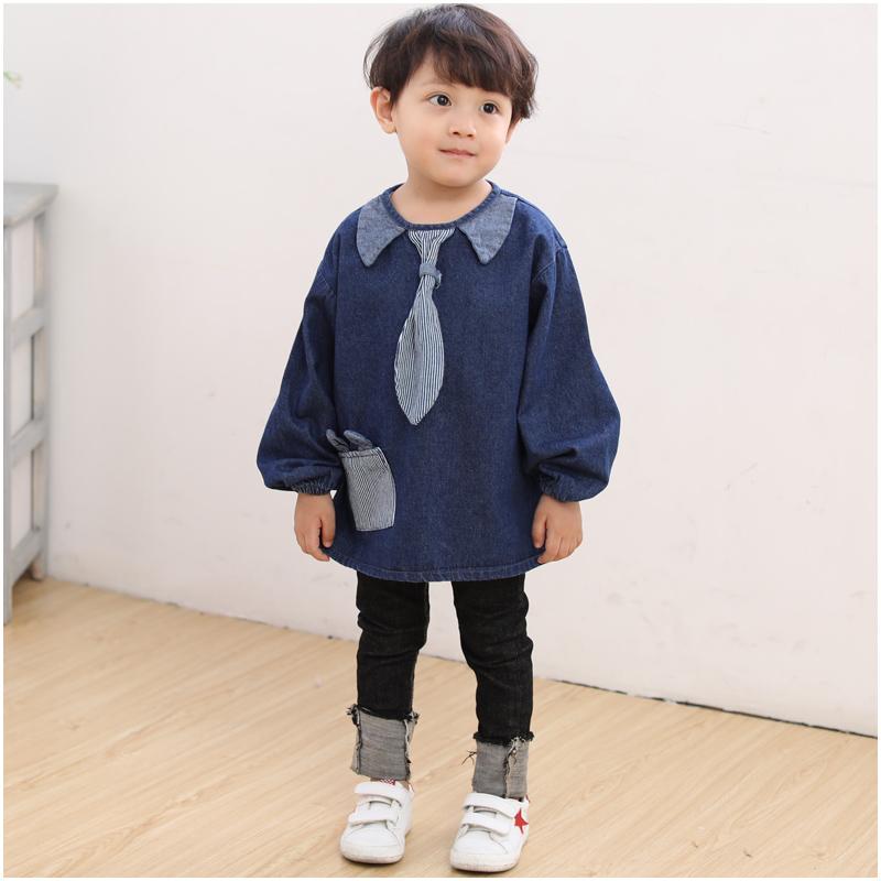 儿童反穿衣0-1-2-3岁男宝宝罩衣男童长袖春秋吃饭围衣防水灯芯绒