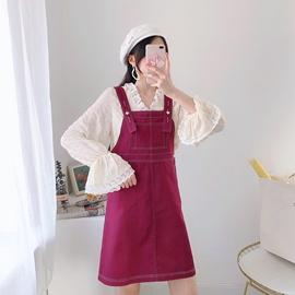 红色牛仔背带半身裙2020春季新款女韩版宽松百搭直筒中长款裙子潮