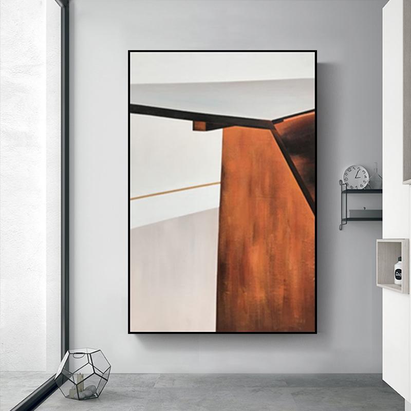 手繪抽象油畫客廳現代簡約美式幾何城市色塊玄關走廊餐廳裝飾畫