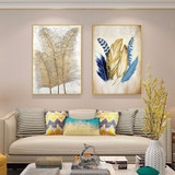 Hand painted abstract oil painting triple living room porch modern minimalist golden feather hanging painting american nordic decorative painting