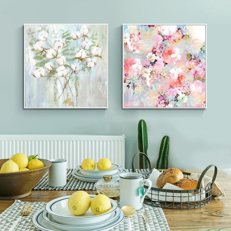 手繪油畫 客廳沙發背景墻掛畫 幸福花開 現代簡約植物花卉裝飾畫
