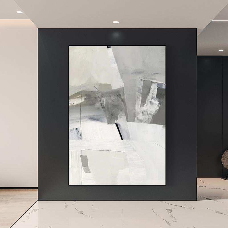 手繪油畫 現代簡約豎版客廳玄關裝飾畫 大幅面厚肌理抽象藝術掛畫