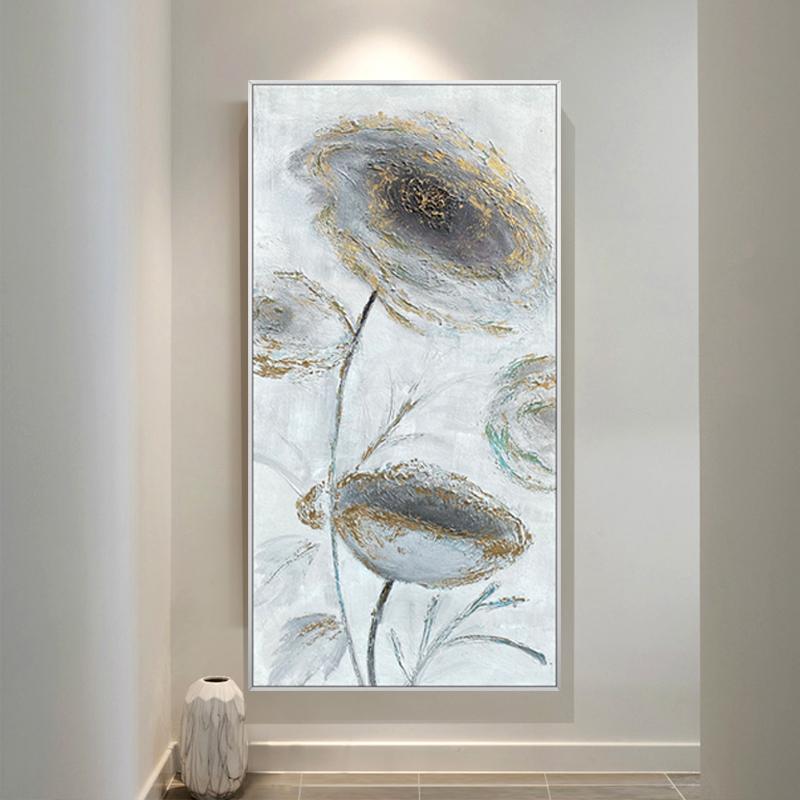 手绘油画美式轻奢荷花花卉抽象金箔装饰画现代玄关走廊背景墙挂画