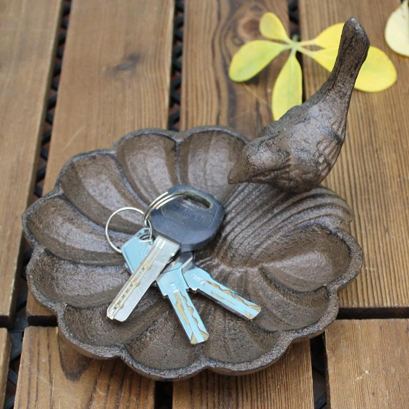 格嘉睿尔欧式铸铁工艺品小鸟贝壳形烟缸 烛台 鸟食盆家居装饰摆件