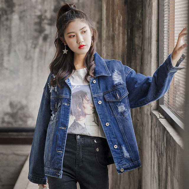 Spring and Autumn cowboy coat female loose student Korean bf joker ragged hole new 2020 Harajugang style jacket trend