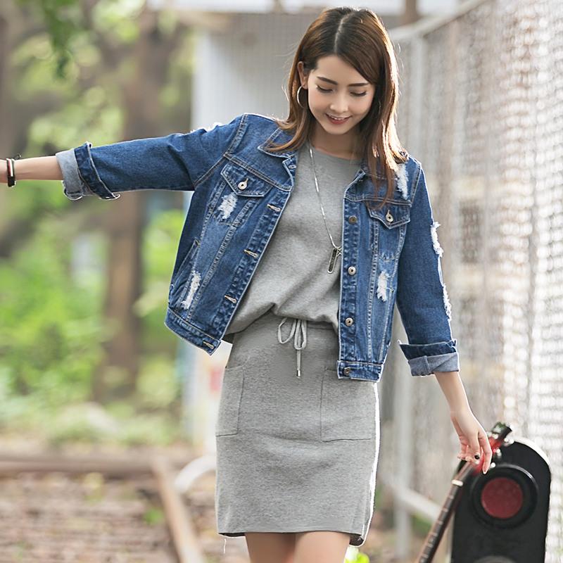 牛仔外套女短款宽松显瘦BF风韩版牛仔衣长袖夹克破洞短外套潮