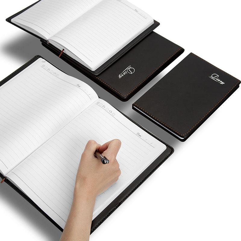黑色笔记本子加厚皮面记事本韩国商务日记本会议记录本a4笔记本文具大号工作本办公笔记本子b5记事簿工作手册