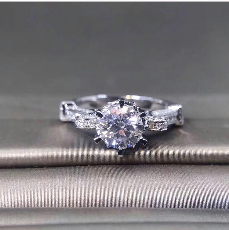 期免息 6 克拉结婚钻戒铂金正品 1.4 分钻石戒指 55 金 18K 白 英皇至尊