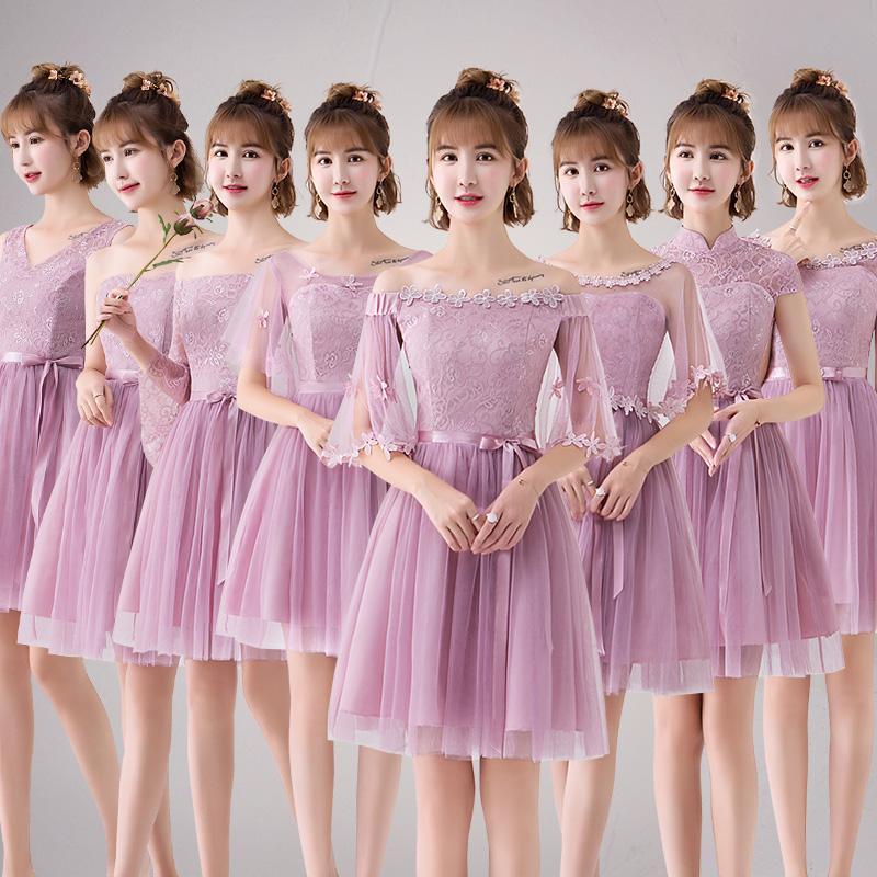 伴娘礼服女2019新款韩式闺蜜装灰色伴娘服姐妹团中袖款宴会小礼服