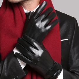 触屏男士手套冬季皮手套男加绒加厚保暖防风防水骑摩托车骑行手套
