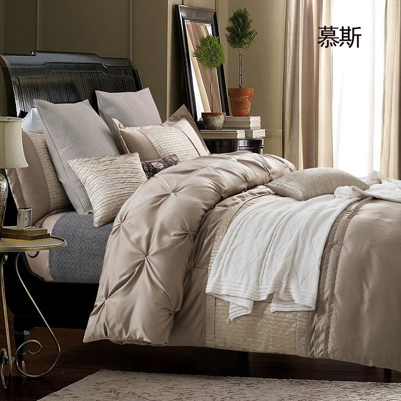 美式四件套被套床上用品欧式样板房四五六七件套纯色素色床品多件