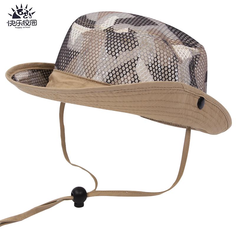 春夏儿童网眼牛仔帽宝宝透气渔夫帽子男童遮阳太阳帽小孩迷彩盆帽