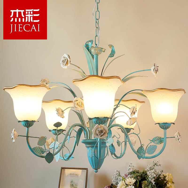 田园风格花草吊灯客厅灯蓝色地中海美式乡村韩式玫瑰餐厅卧室