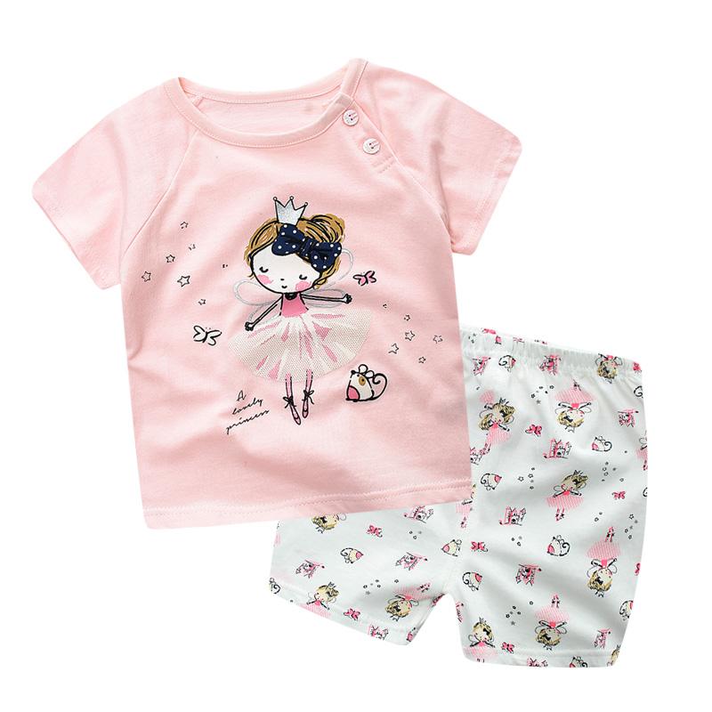 儿童短袖短裤套装2019新款女童夏装夏季童装婴儿男童宝宝T恤纯棉
