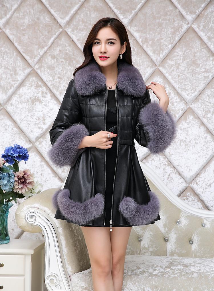 2018新款海宁皮衣绵羊皮草真皮羽绒服冬修身外套女中长款狐狸毛领