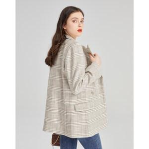 拉夏贝尔2021年春秋季新款羊毛休闲毛呢西装外套女宽松气质小西服