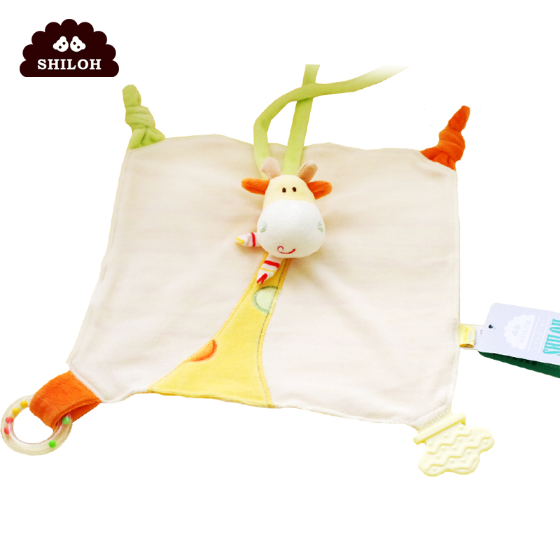 SHILOH美鹿安抚巾婴儿多功能安抚玩具含牙胶彩环摇铃BB器咬咬结