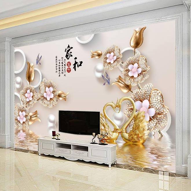 8D电视背景墙壁纸装饰客厅5D现代简约3D影视墙纸家用墙布壁画大气
