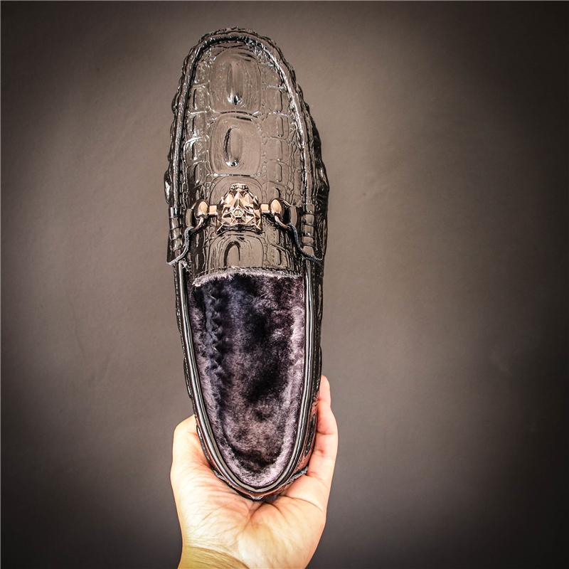 男鞋冬季潮鞋一脚蹬鳄鱼纹懒人鞋男真皮豆豆鞋社会小伙子加绒 2018