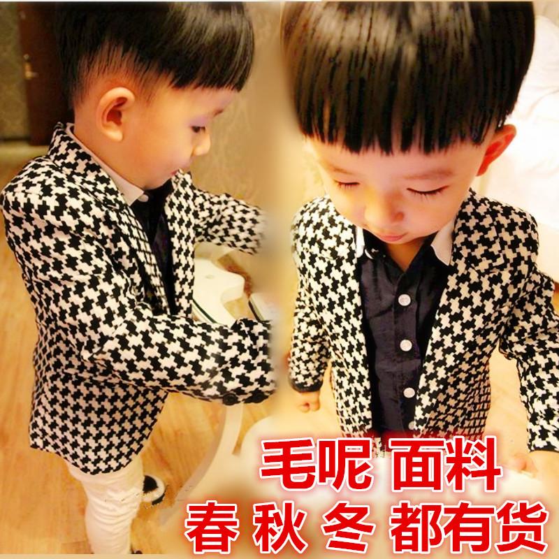 童装西装外套婴幼儿童宝宝男童格子西装西服礼服长袖开衫外套上衣