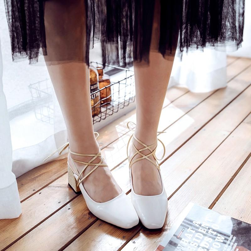 2017夏季新款粗跟高跟鞋女方头漆皮浅口半拖鞋交叉绑带中跟凉鞋潮
