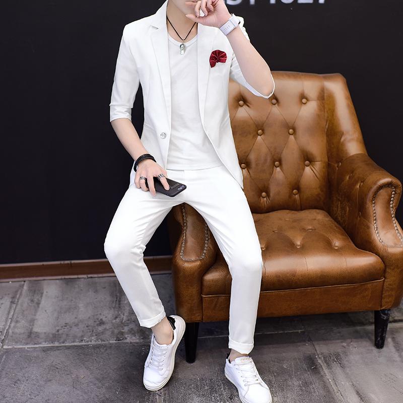 青年中袖西服套装男韩版修身纯色帅气两件套韩版夏季新郎伴郎西装