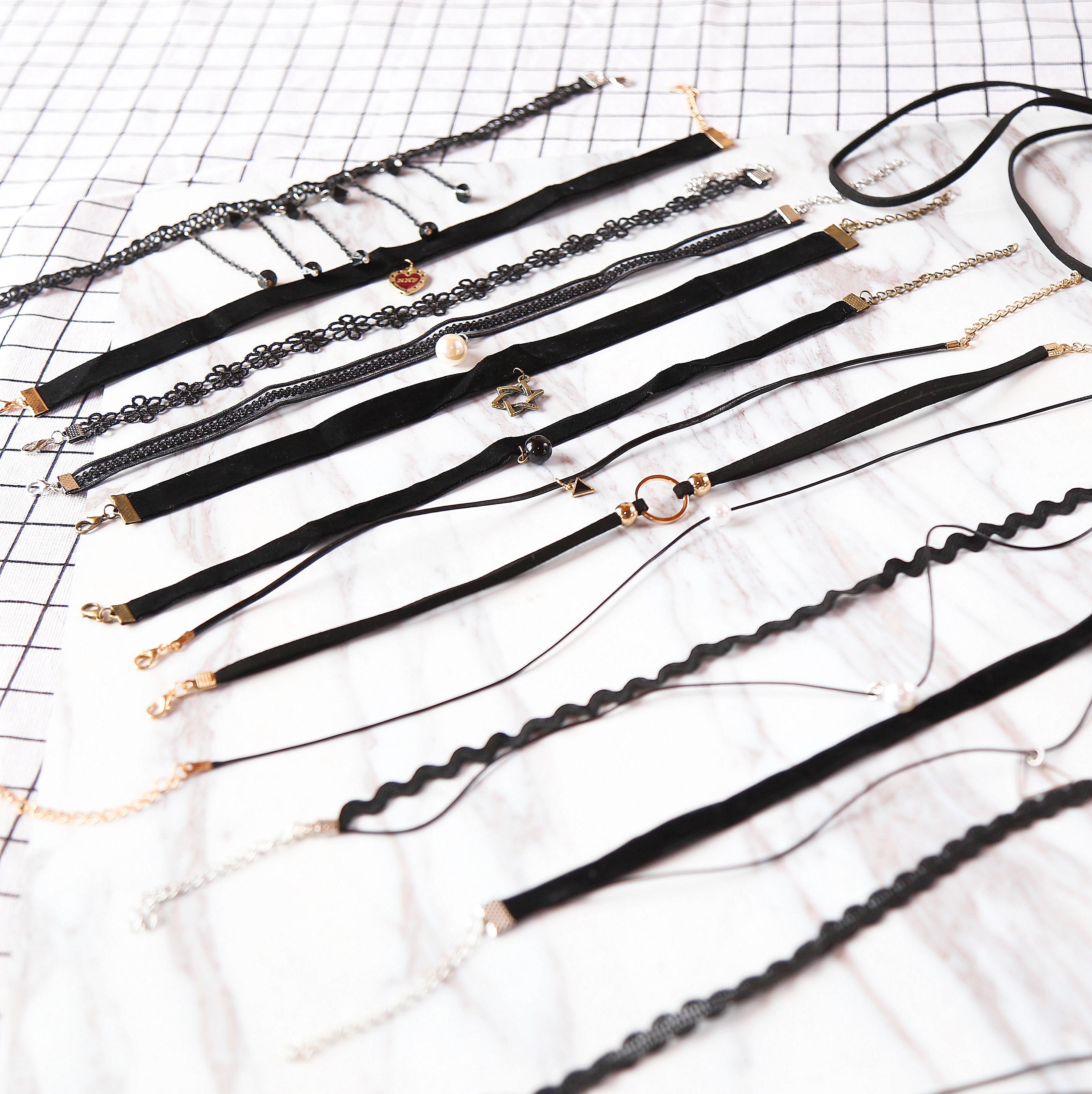 【今天是粥几】13件套锁骨颈链组合装 蕾丝天鹅绒choker项链创意