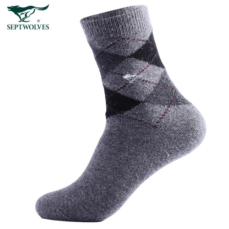 七匹狼男士袜子冬季加厚保暖中筒冬天羊毛绒长袜男潮秋冬款毛巾袜