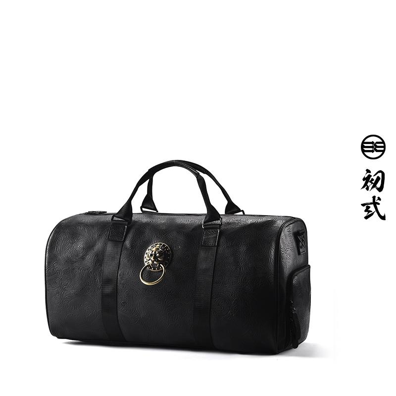 42236 国潮中国风复古街头行李袋手提斜挎包单肩包男女 初狮子头