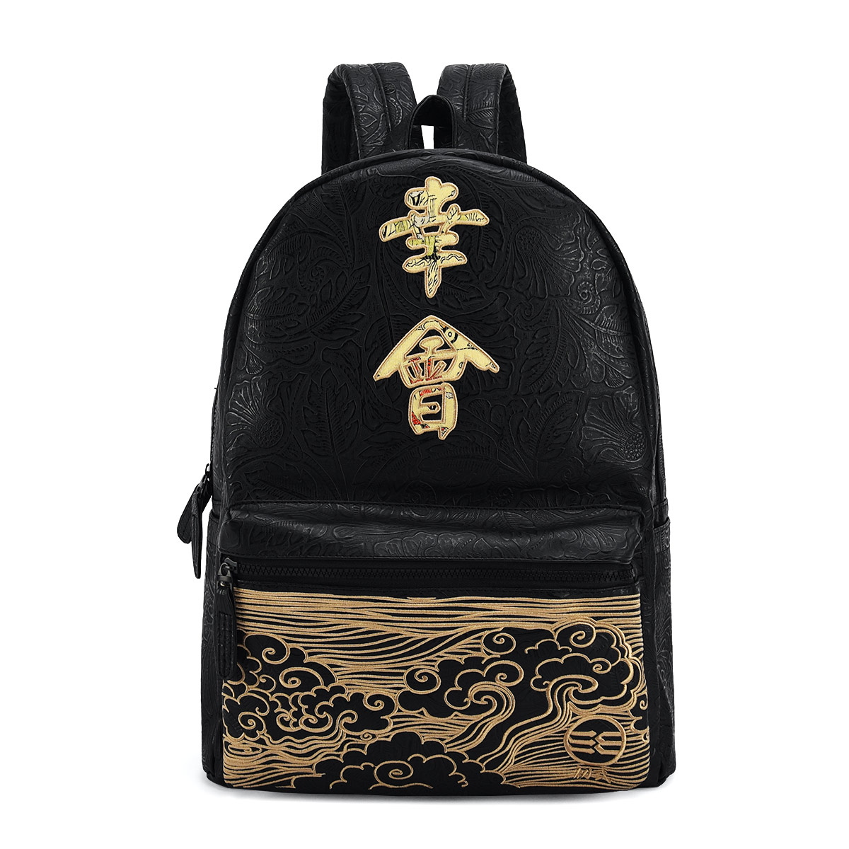 初弎中国风潮牌街头男女情侣久仰幸会刺绣双肩包电脑背书包41163