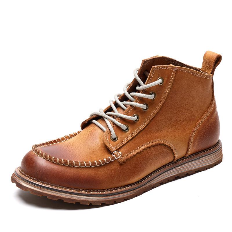 秋冬季英伦男靴子真皮工装靴男短靴中帮马丁靴男高帮韩版工装男鞋