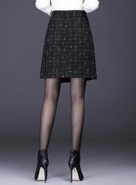 半身裙秋冬女2020新款高腰格子包臀裙小香风a字遮胯显瘦毛呢短裙