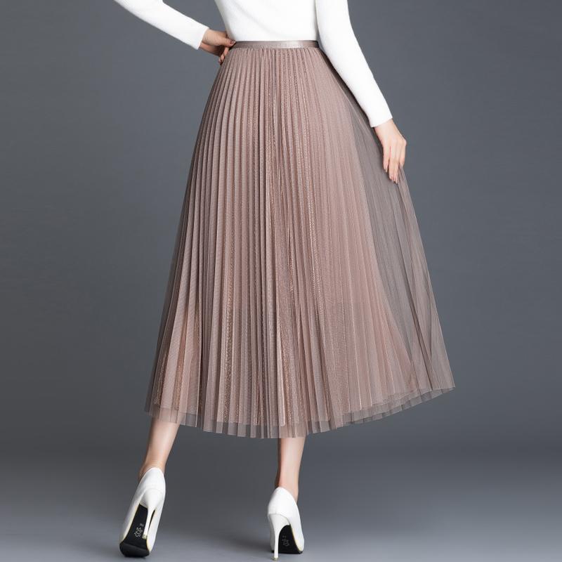 超美仙女裙2020春夏新款纯色优雅百搭光泽闪光网