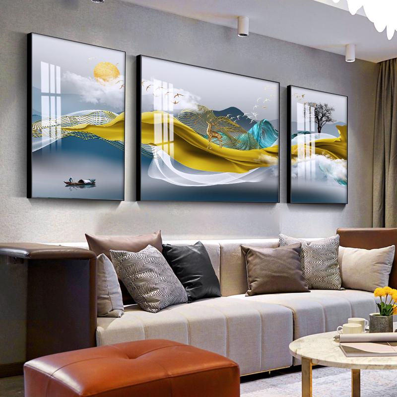 北欧客厅装饰画现代简约三联画鹿轻奢沙发背景墙装饰壁画挂画墙画