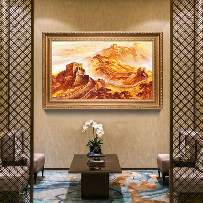 手绘油画万里长城画靠山图中式办公室客厅招财风水电表箱装饰画