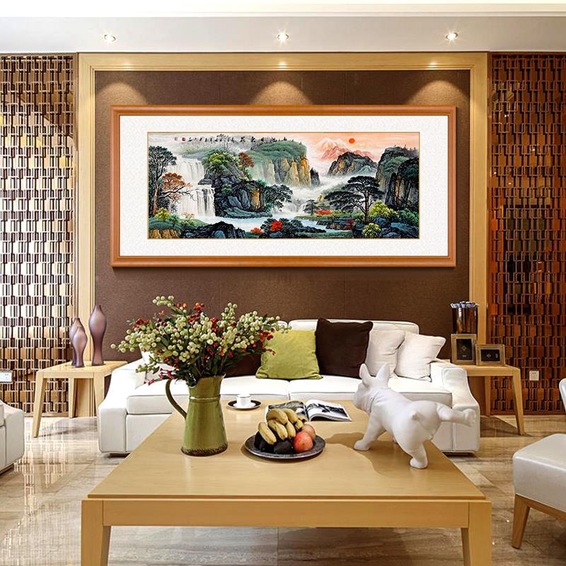 界家居 手繪國畫旭日東升山水畫聚寶盆風水靠山客廳辦公室裝飾